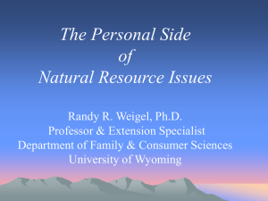 The Personal Nature of Natural Resource Issues