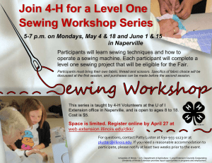 Join 4-H for a Level One Sewing Workshop Series in Naperville
