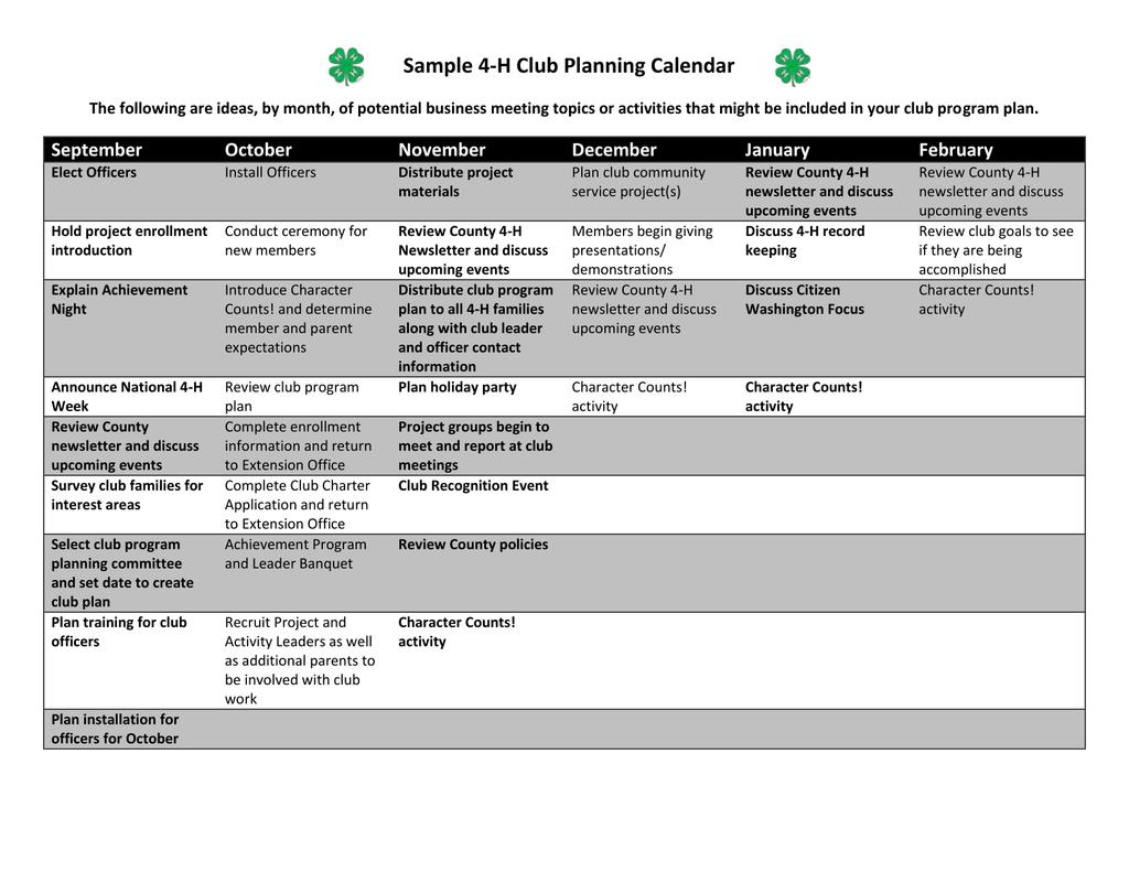 Sample 4-H Club Planning Calendar