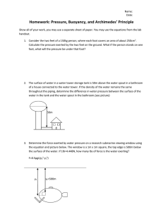 Homework: Pressure, Buoyancy, and Archimedes' Principle