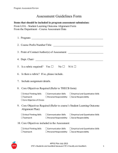 Assessment Guidelines Form