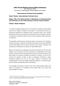 The Enforcement of Sentences and Detention in the International Criminal Justice System