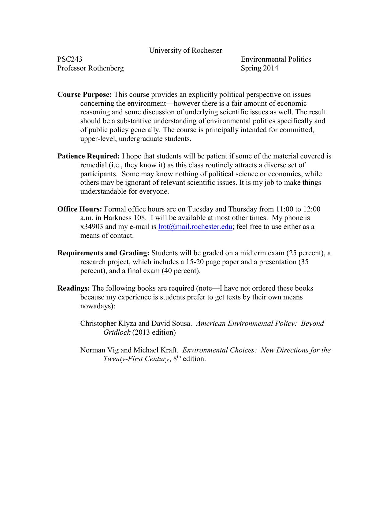 University of Rochester PSC243 Environmental Politics