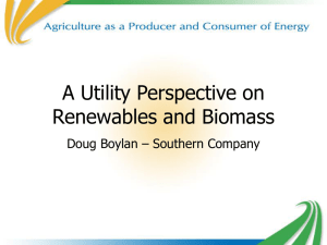 A Utility Perspective on Renewables and Biomass Doug Boylan – Southern Company