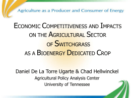 The Economic Competitiveness of, and Impacts on the Agricultural Sector, of Bioenergy Crop Production
