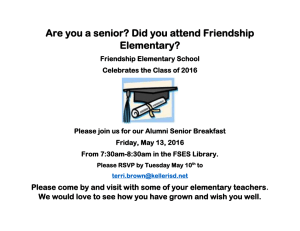 Are you a senior? Did you attend Friendship Elementary?