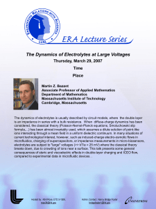 The Dynamics of Electrolytes at Large Voltages Thursday, March 29, 2007 Time Place
