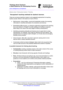 Thinking about Dyslexia: A Staff Resource for Developing Practice