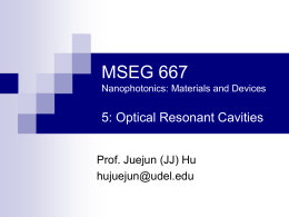 MSEG 667 5: Optical Resonant Cavities Prof. Juejun (JJ) Hu