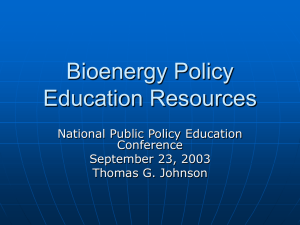 Bioenergy Policy Education Resources National Public Policy Education Conference