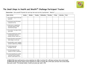 The Small Steps to Health and Wealth™ Challenge Participant Tracker Instructions: