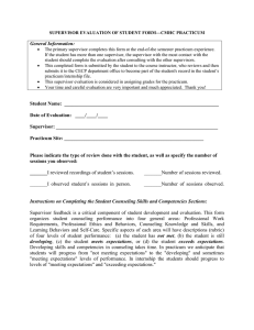 Supervisor Evaluation form for practicum