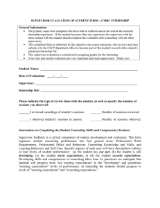 Supervisor Evaluation form for internship
