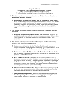 School counseling internship performance assessment handout