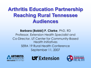 A Unique Arthritis Education Partnership Reaching Rural Tennessee Audiences