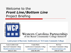 Front Line/Bottom Line Project Briefing