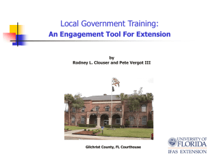 Local Government Training as an Engagement Tool for Extension
