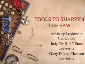 TOOLS TO SHARPEN THE SAW Advisory Leadership Curriculum