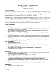 Program Assistant – Leadership Programs Office of Student Development Marquette University