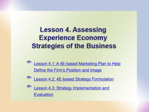 Lesson 4. Assessing Experience Economy Strategies of the Business