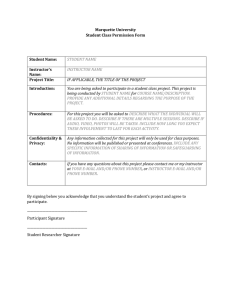 Student Project Information Sheet Template 2