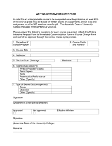 Writing Intensive Request Form
