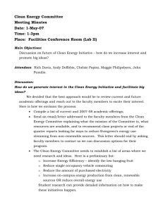 Clean Energy Committee Meeting Minutes Date: 1-May-07 Time: 1-3pm