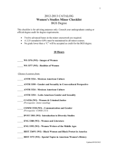 Women s Studies Minor 2012