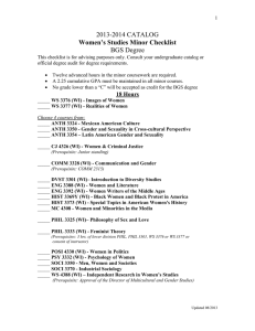 Women s Studies Minor 2013