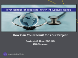 How Can You Recruit for Your Project IRB Chairman