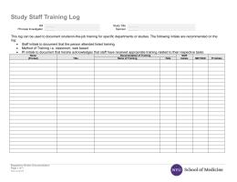 Study Staff Training Log
