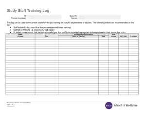 Study Staff Training Log