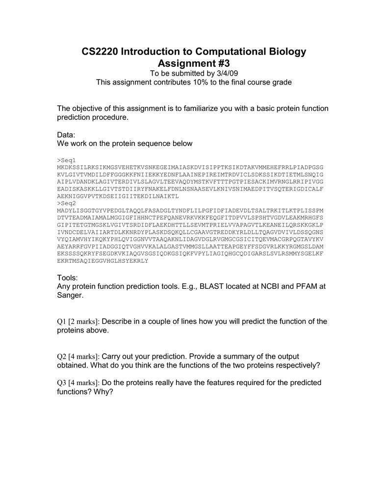 cs introduction to computational biology assignment