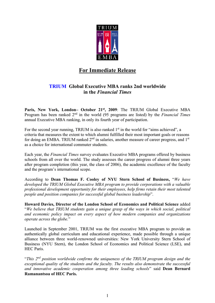 For Immediate Release Trium Financial Times