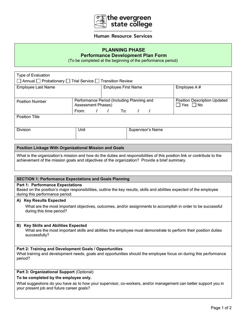 Planning Phase Performance Development Plan Form