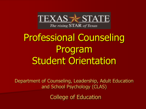 Professional Counseling New Student Orientation