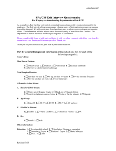 SPA/CSS Exit Interview Questionnaire Attachment C For Employees transferring departments within ECU