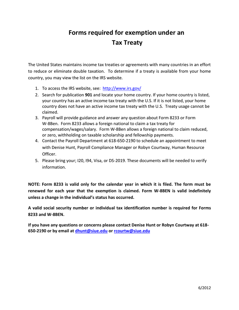 Forms Required Under A Tax Treaty