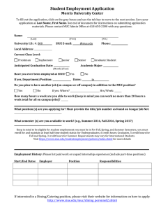 Student Employment Application Morris University Center