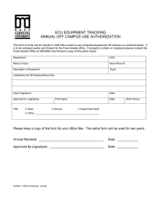 ECU EQUIPMENT TRACKING ANNUAL OFF CAMPUS USE AUTHORIZATION