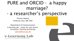 2016 3 ORCID and PURE a happy marriage