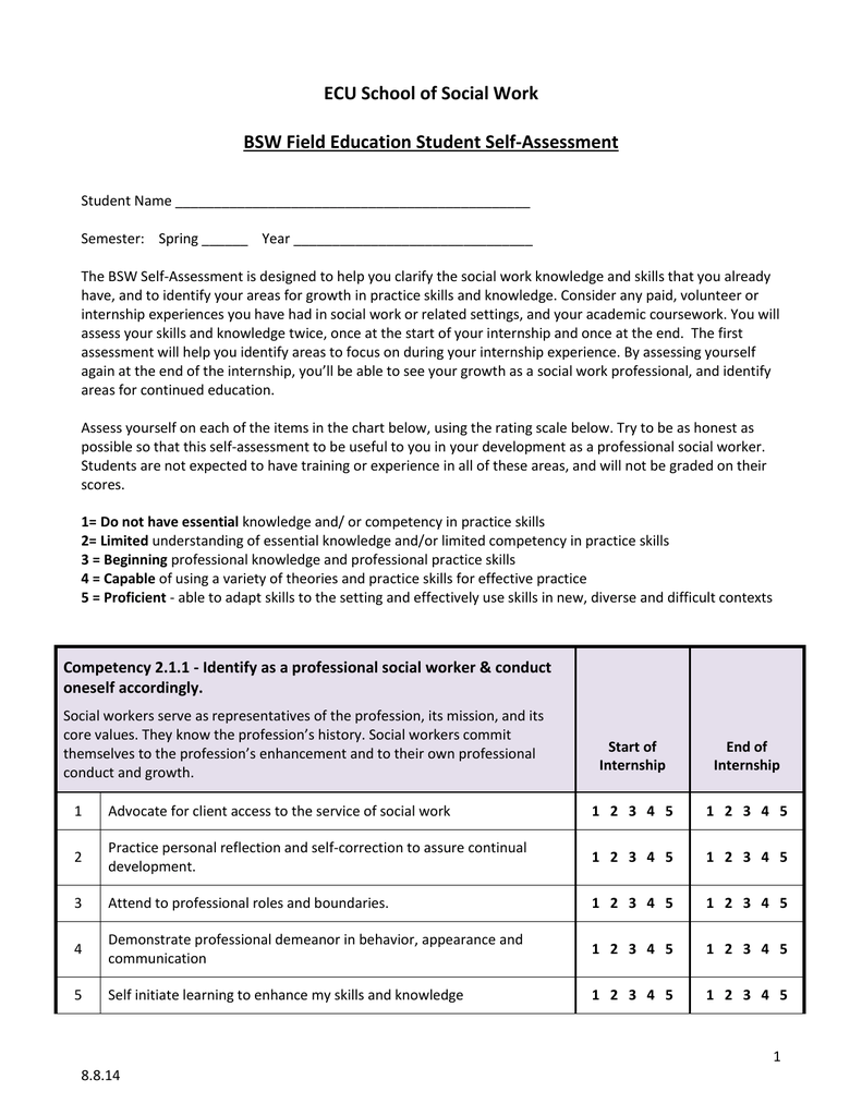 BSW Self-Assessment