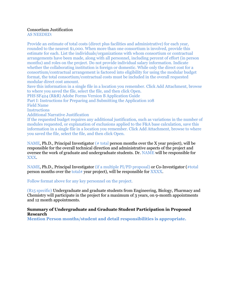 Nih modular consortium justification maxwellsz