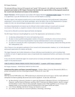 NSF RUI Impact Statement