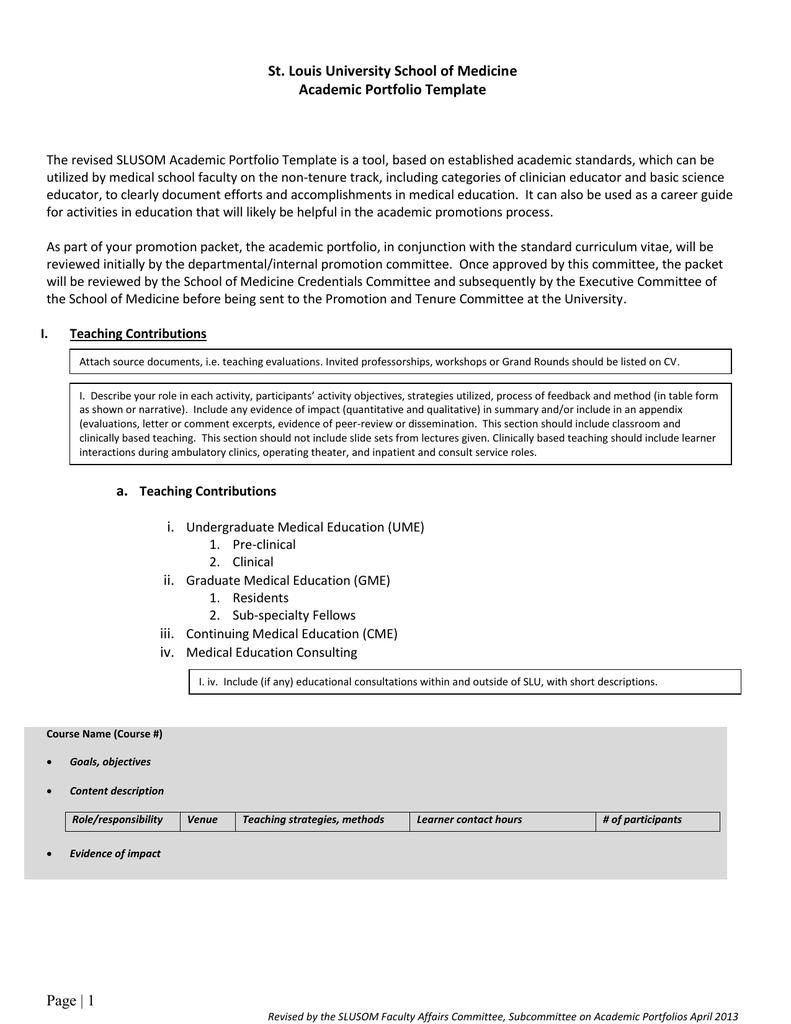 Academic Portfolio 2013 Revision
