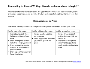Responding to Student Writing:  How do we know where...