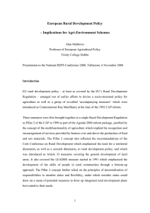 European Rural Development Policy Implications for Agri-Environment Schemes