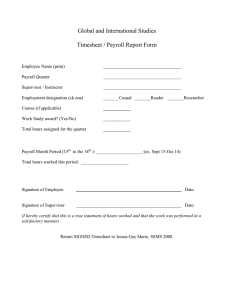 Global and International Studies  Timesheet / Payroll Report Form