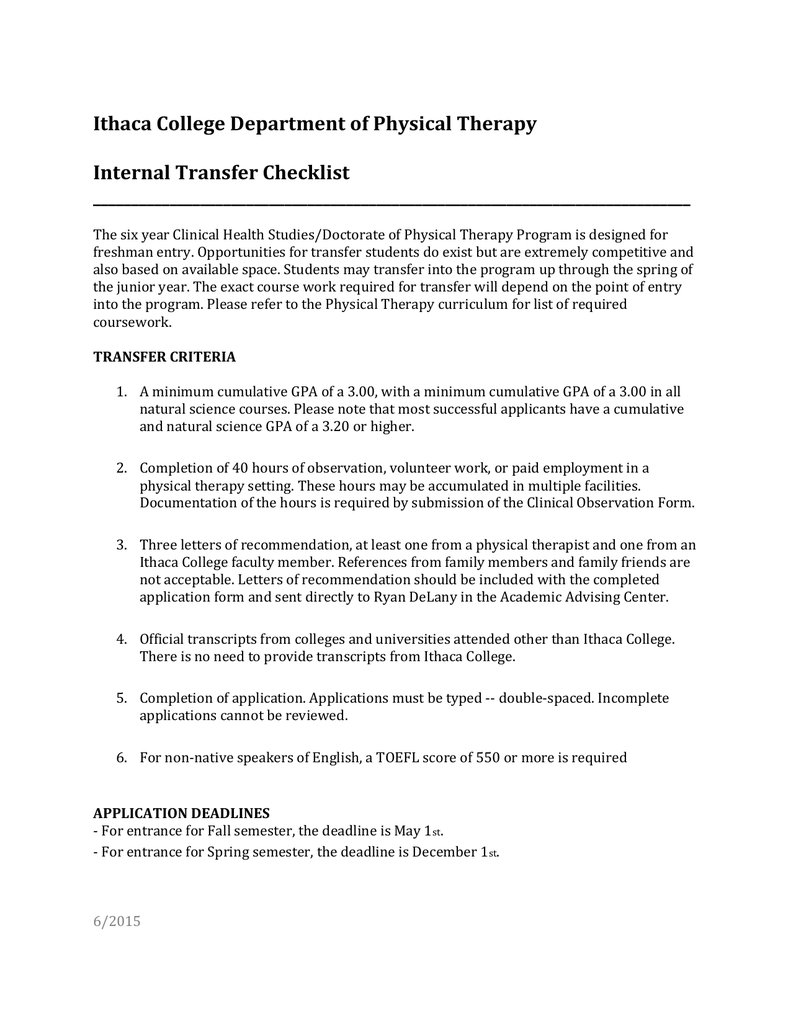 Download Physical Therapy Internal Transfer Checklist (Word)