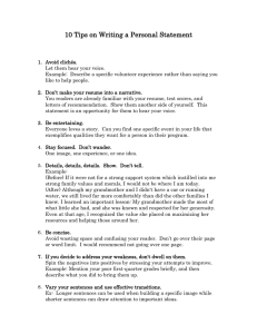 10 Tips - Personal Statement